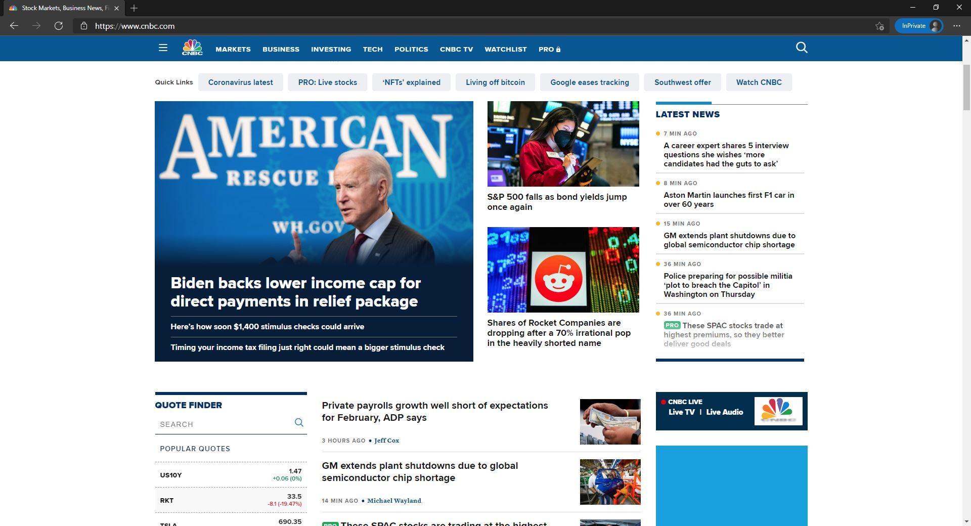 CNBC website homepage