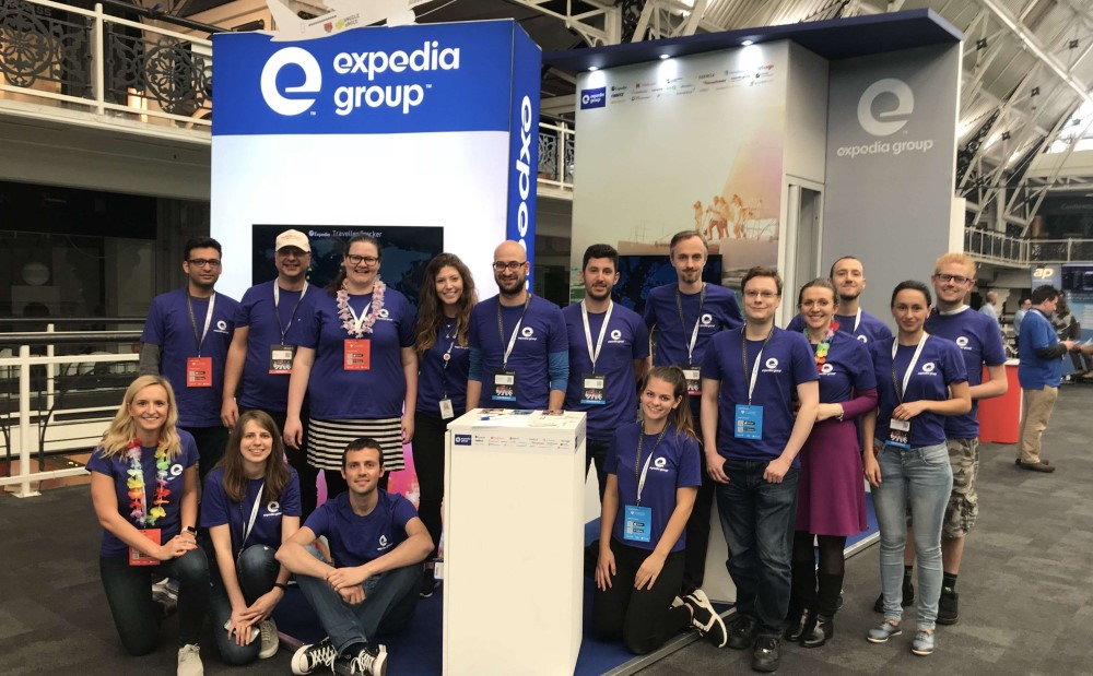 Expedia staff at the airport with consumers