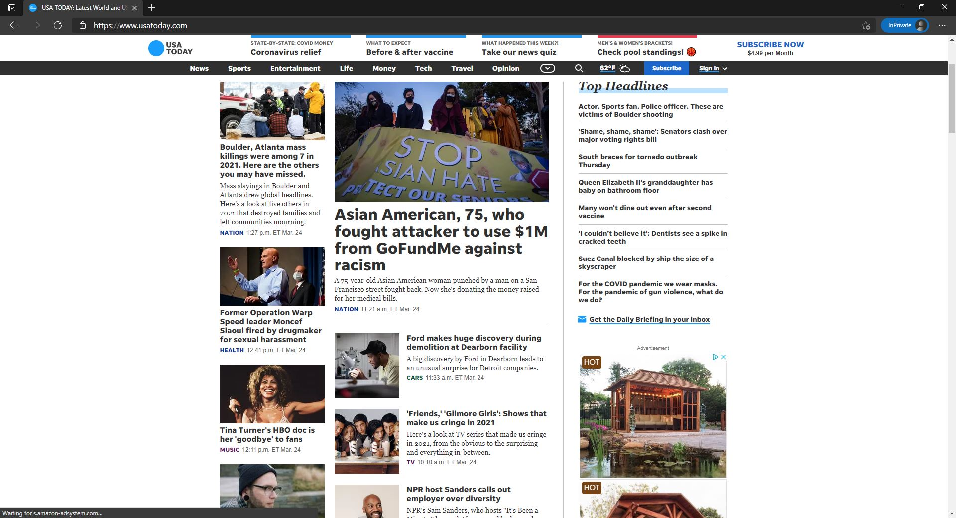 USA Today website homepage