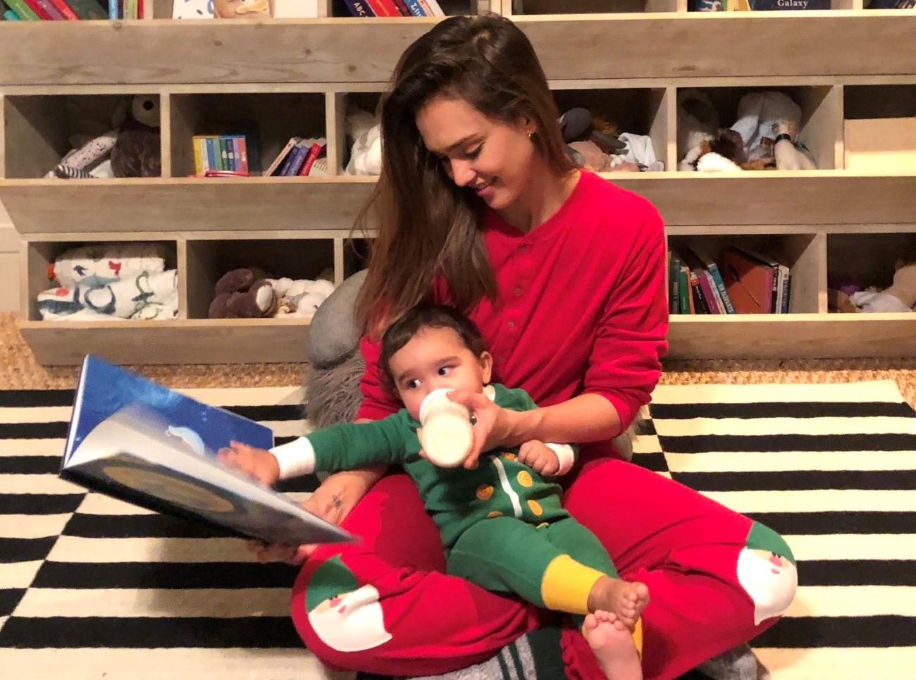 Jessica Alba with her child