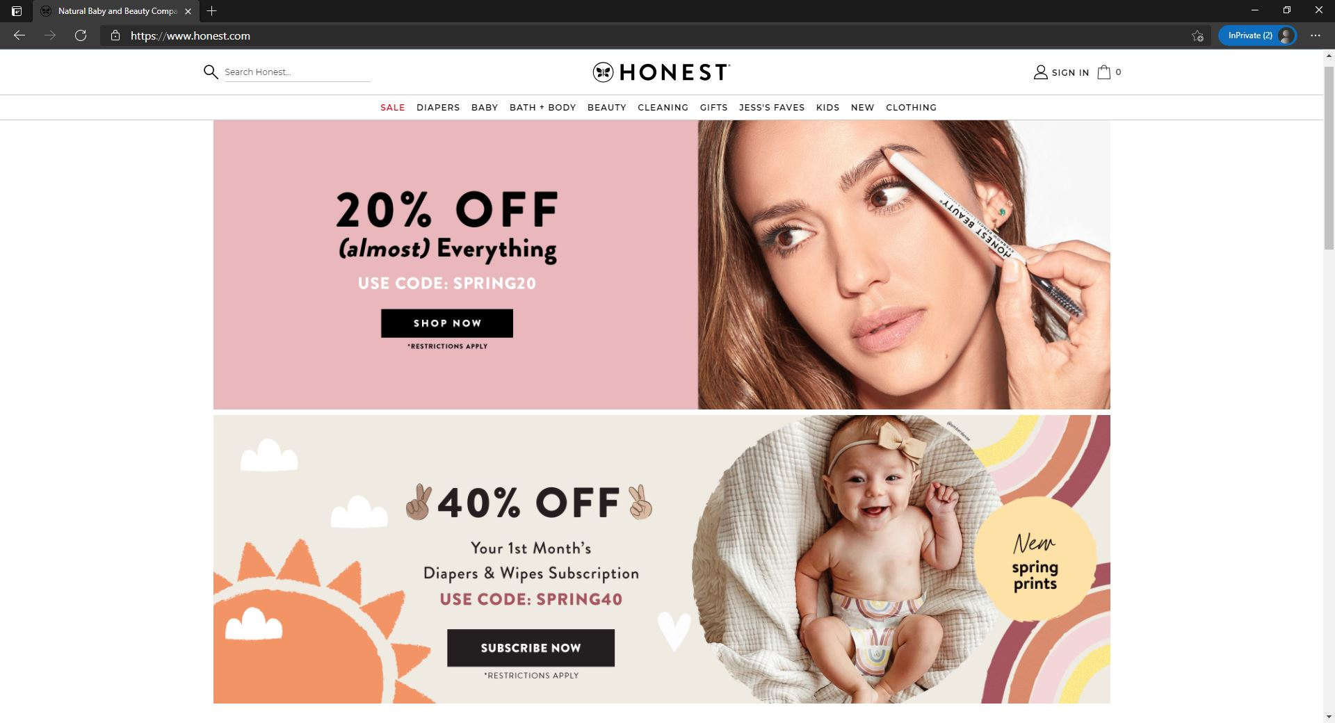 The Honest Company website homepage