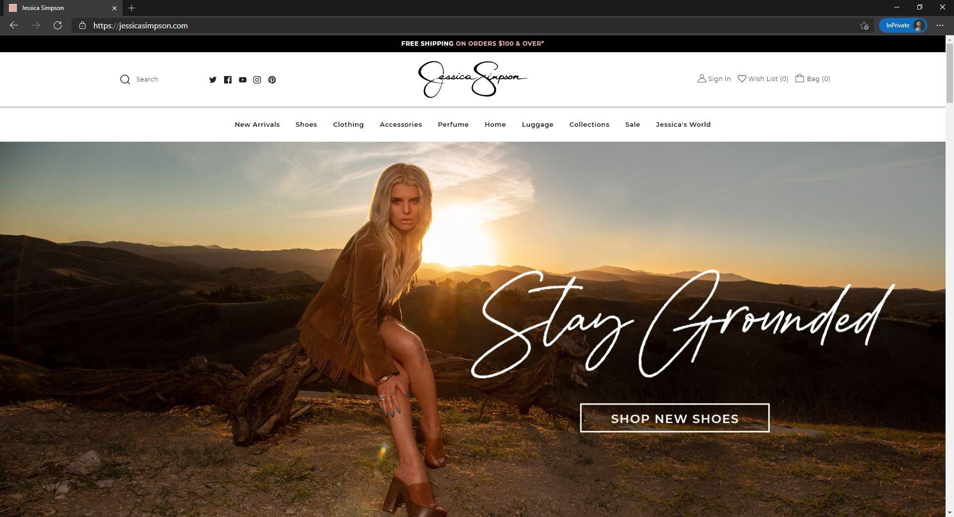 Jessica Simpson ecommerce store homepage