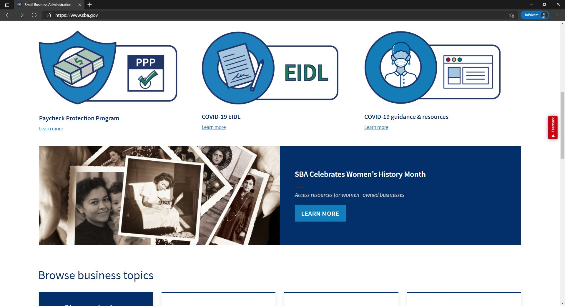 SBA website homepage