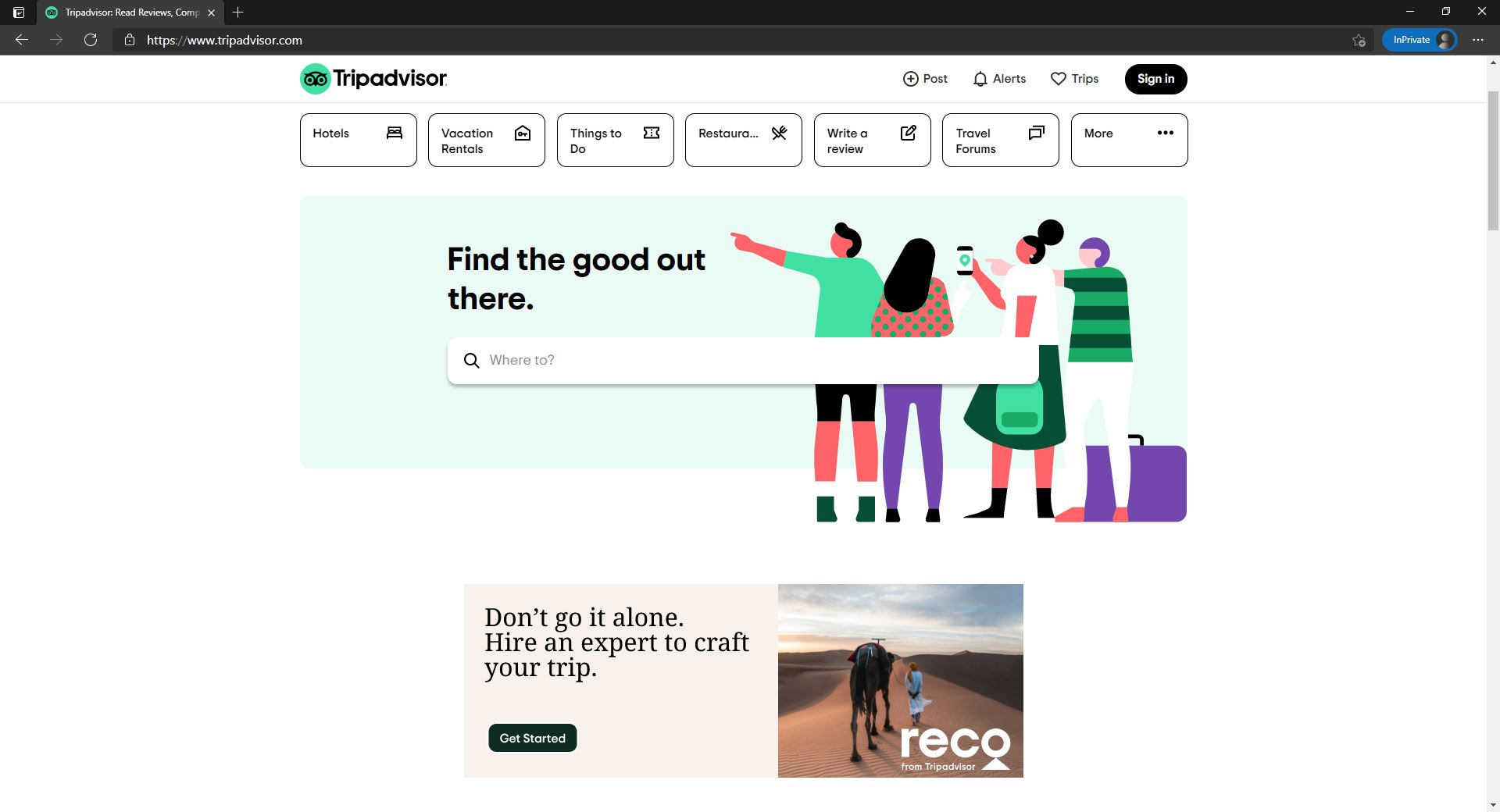 TripAdvisor new website with simplicity concept