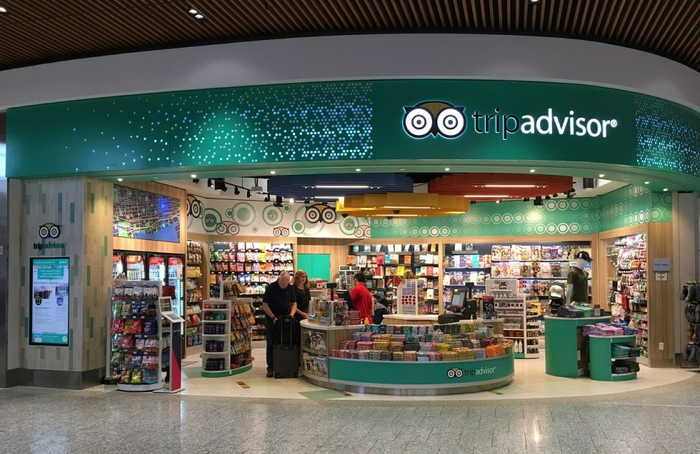 TripAdvisor showcase at a storefront in a airport