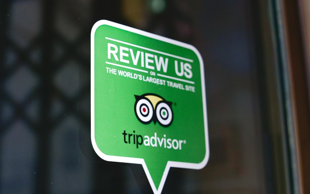 TripAdvisor review notice at the site