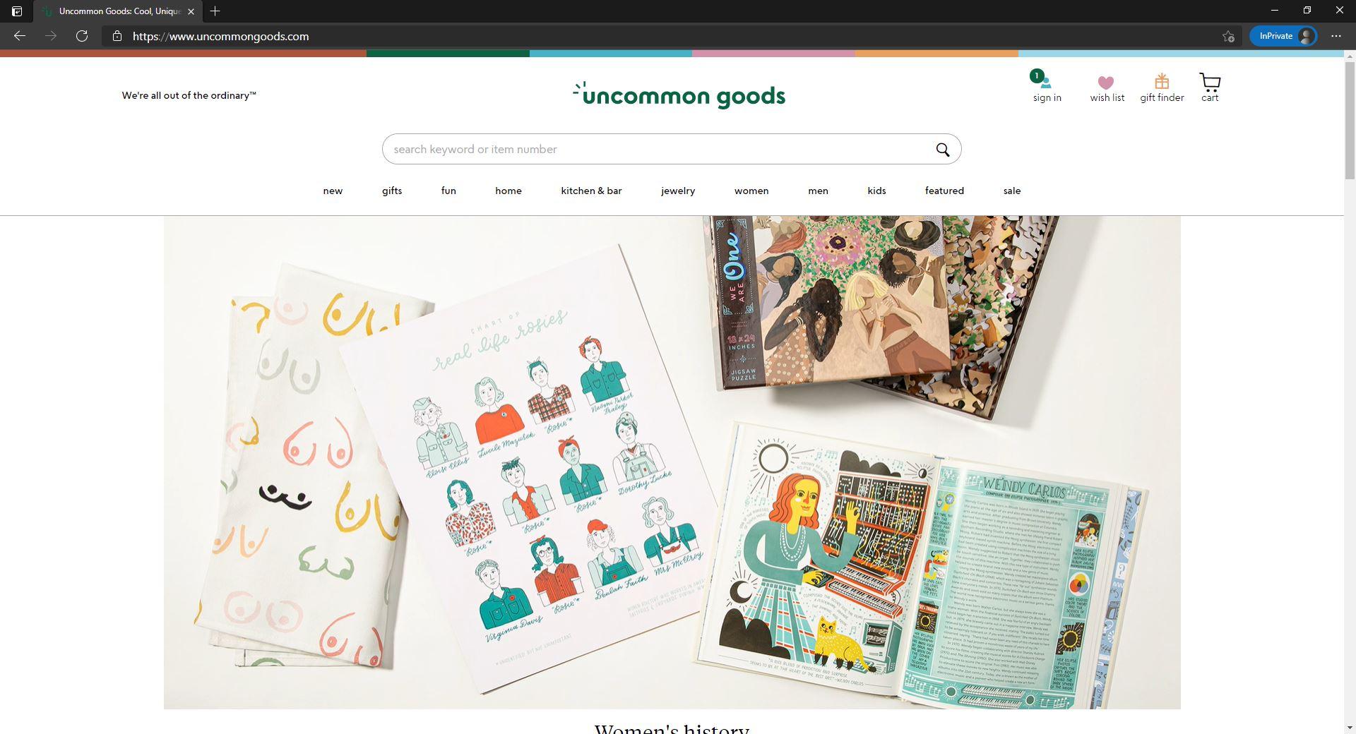 UncommonGoods website homepage