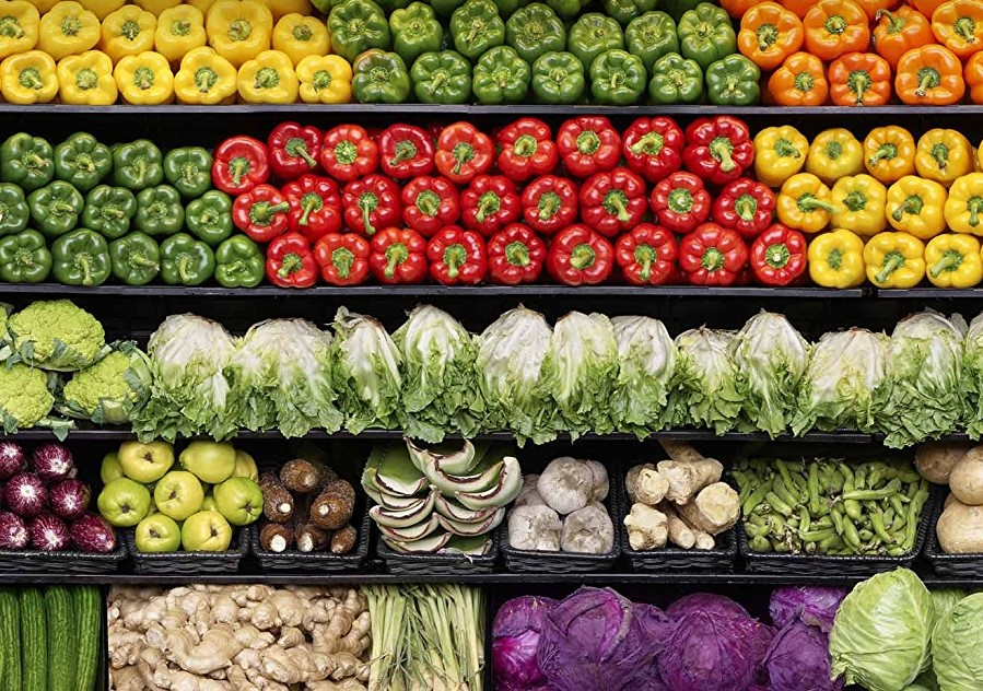 a vege section in Whole Foods store