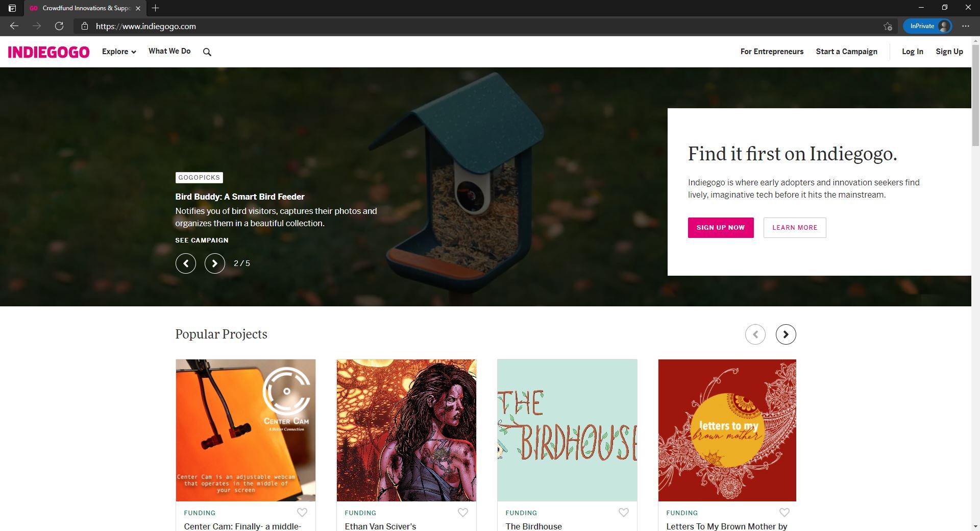 Indiegogo website homepage