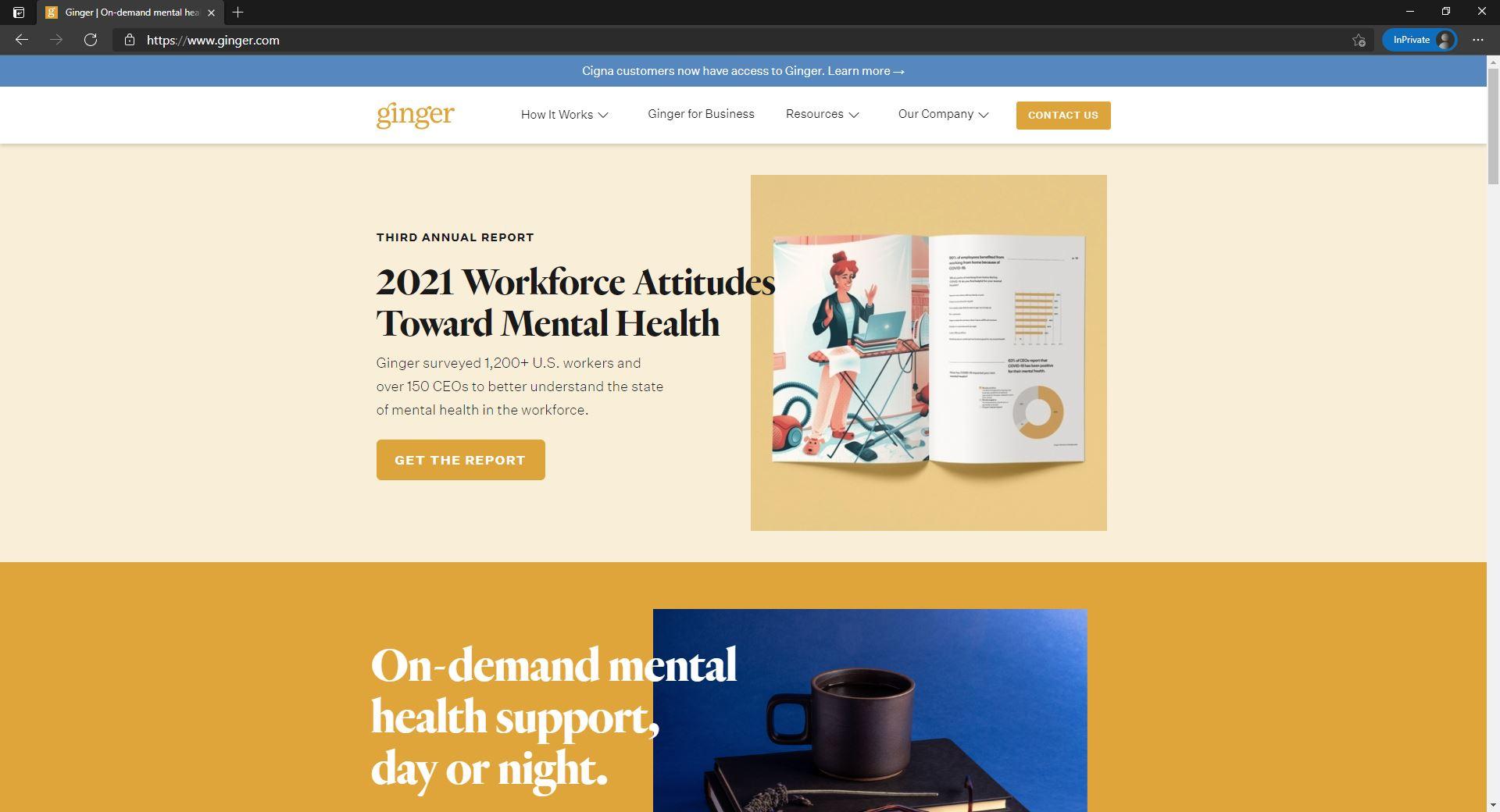 Ginger website homepage