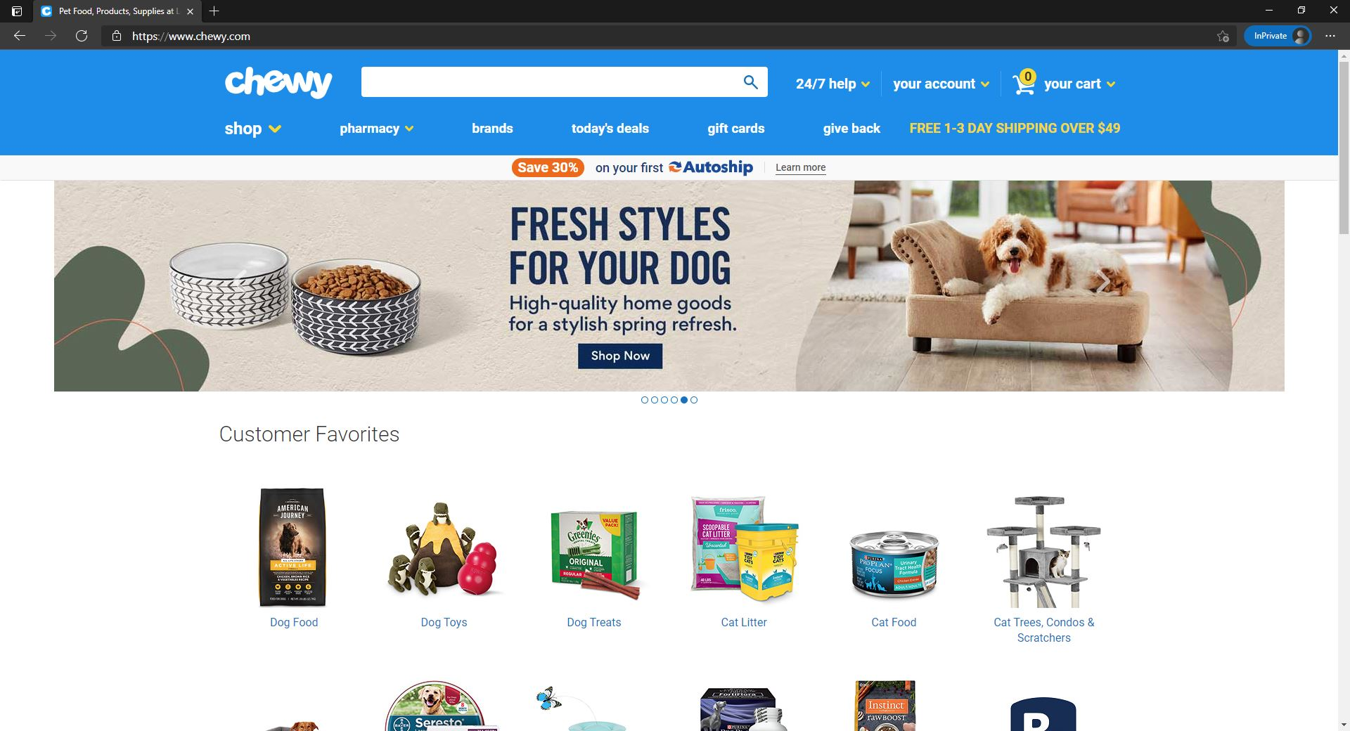 Chewy website homepage