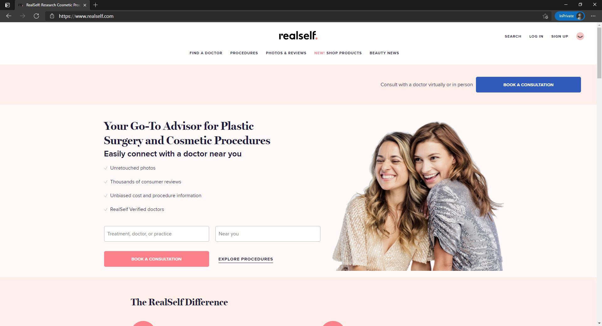 RealSelf website homepage