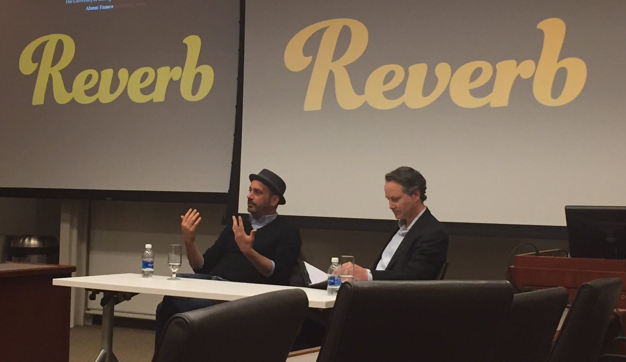 Reverb founder and CEO speak in a meetup event