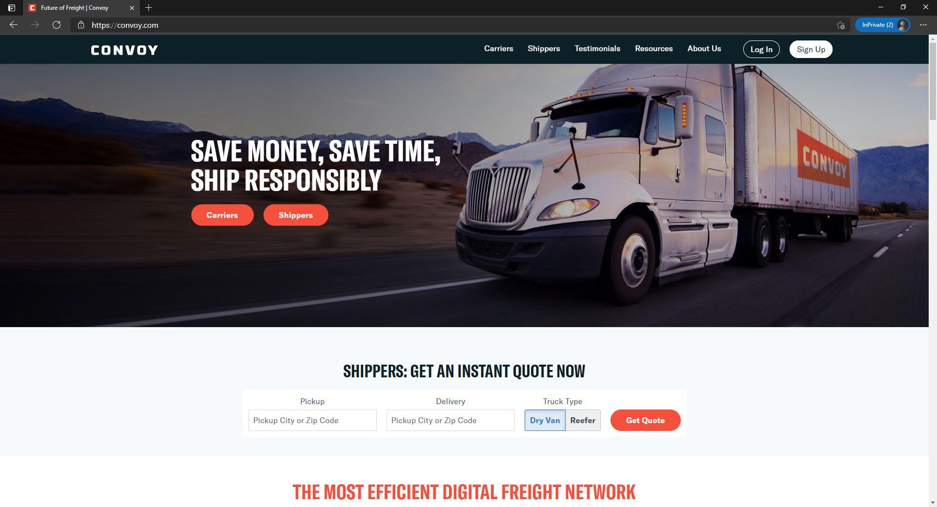 Convoy website homepage