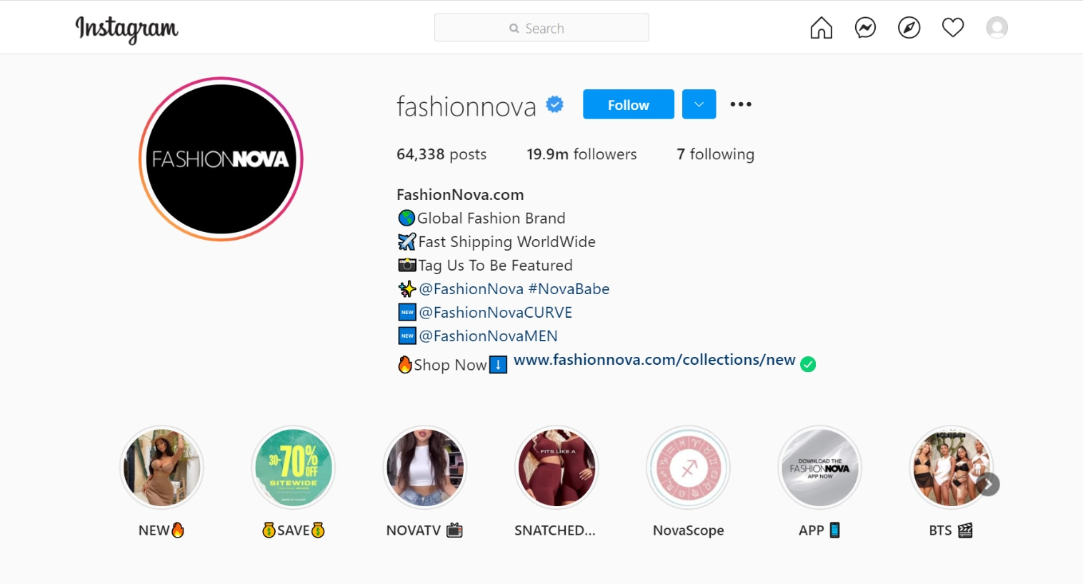Fashion Nova instagram page