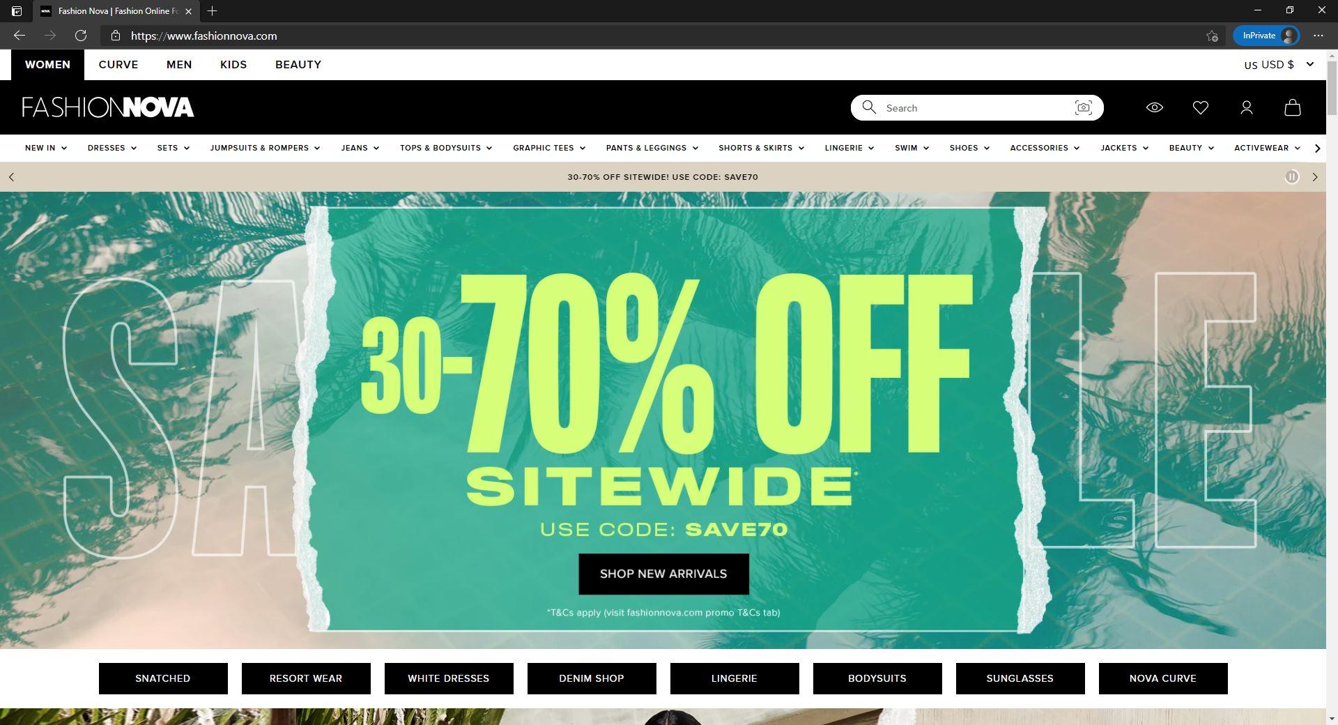 Fashion Nova website homepage