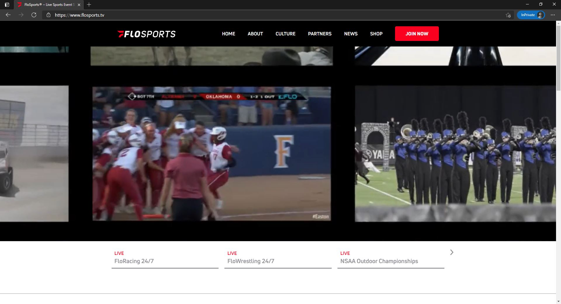 FloSports website homepage