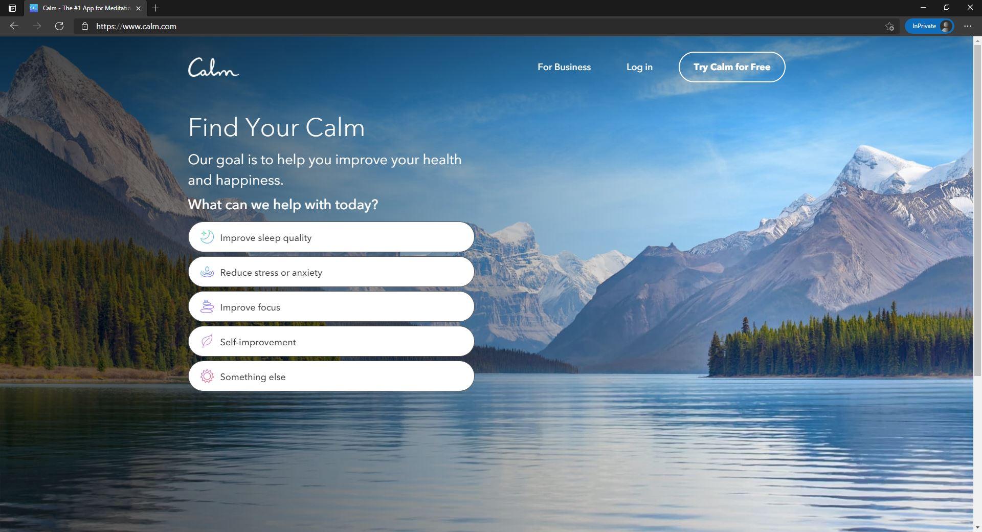 Calm website homepage
