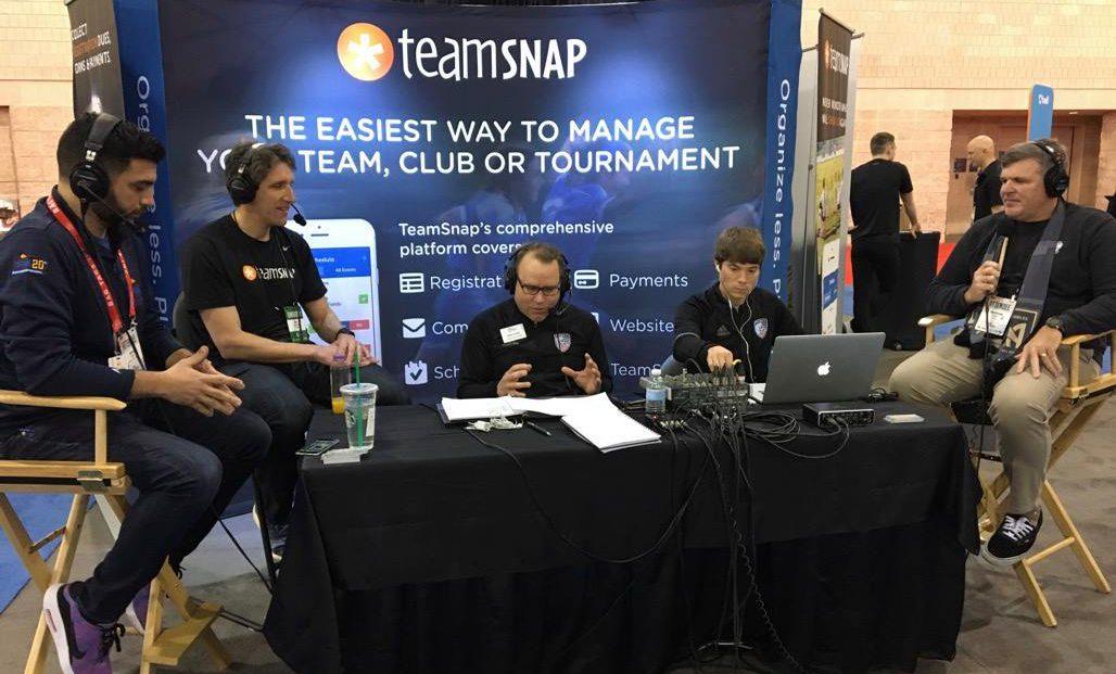 TeamSnap marketing team at a trade show
