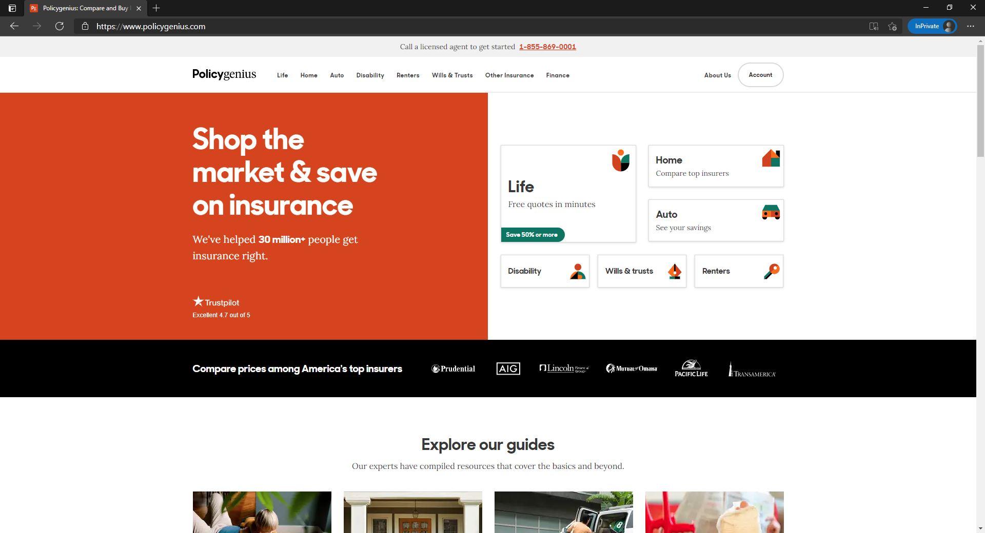 PolicyGenius website homepage