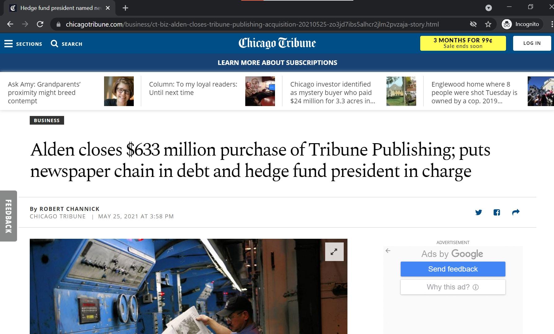 Chicago tribune website homepage