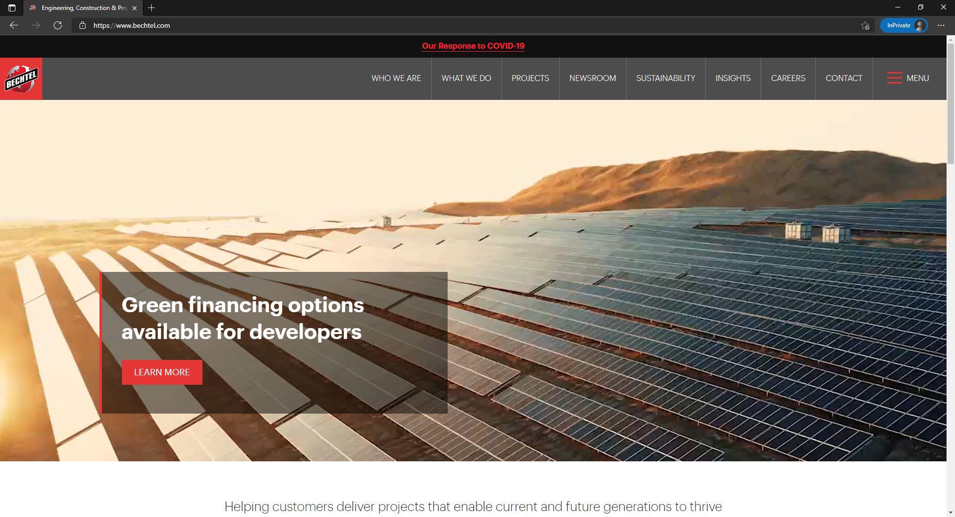 Bechtel website homepage