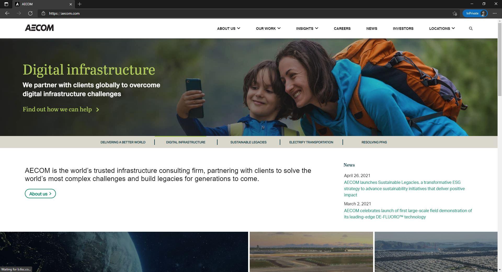 AECOM website homepage