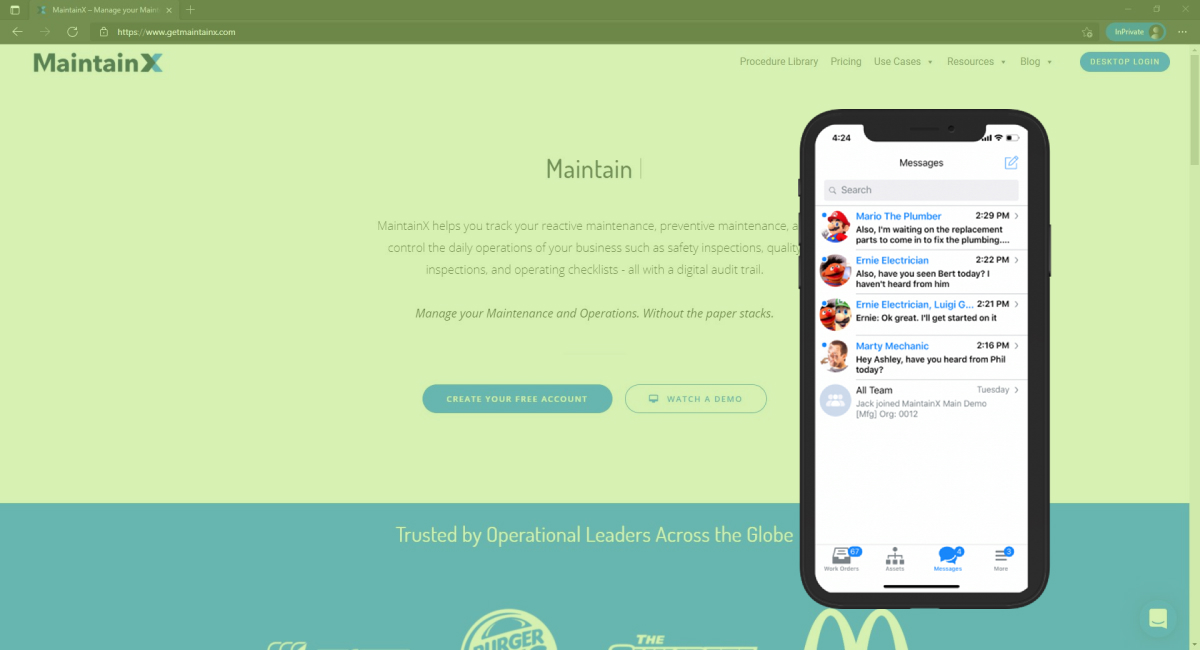 MaintainX mobile app user interface