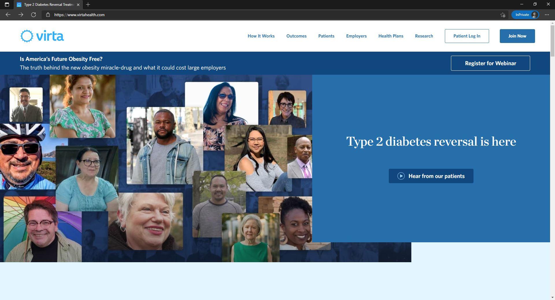 Virta Health website homepage
