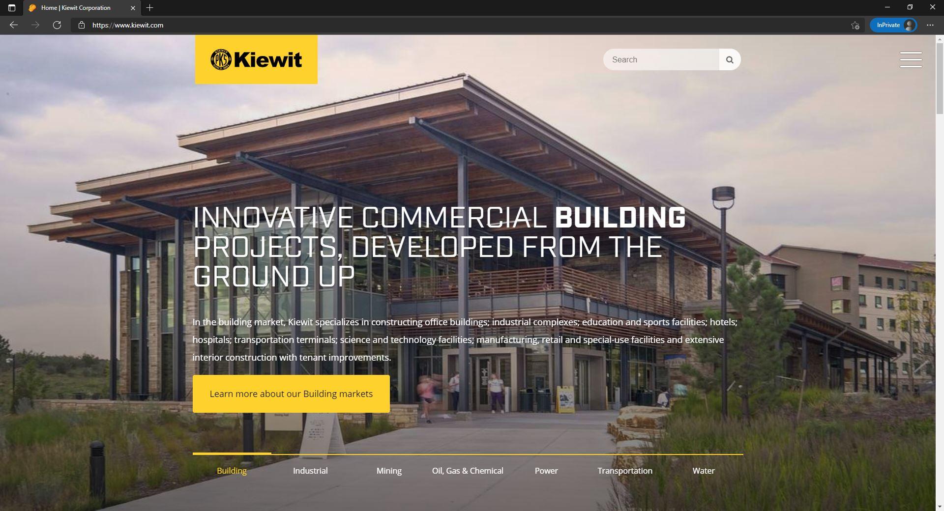 Kiewit website homepage