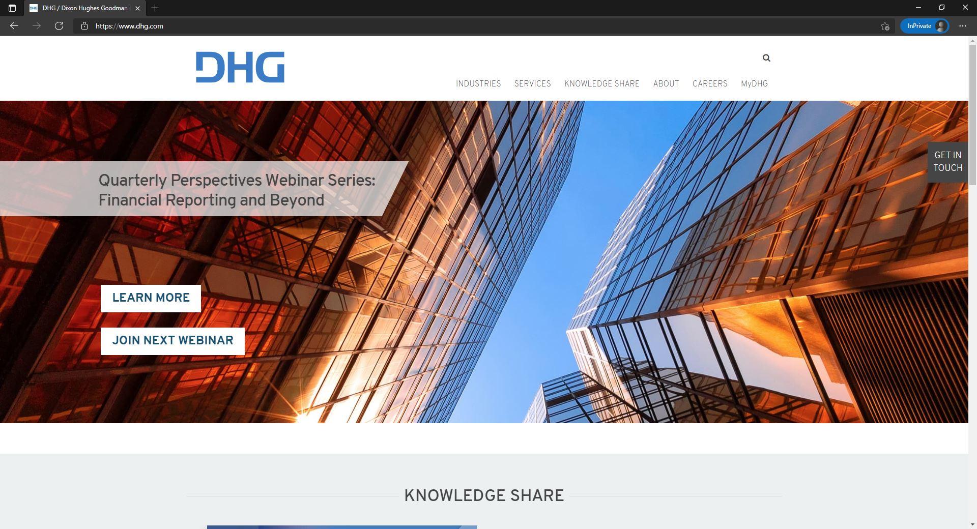 DHG website homepage