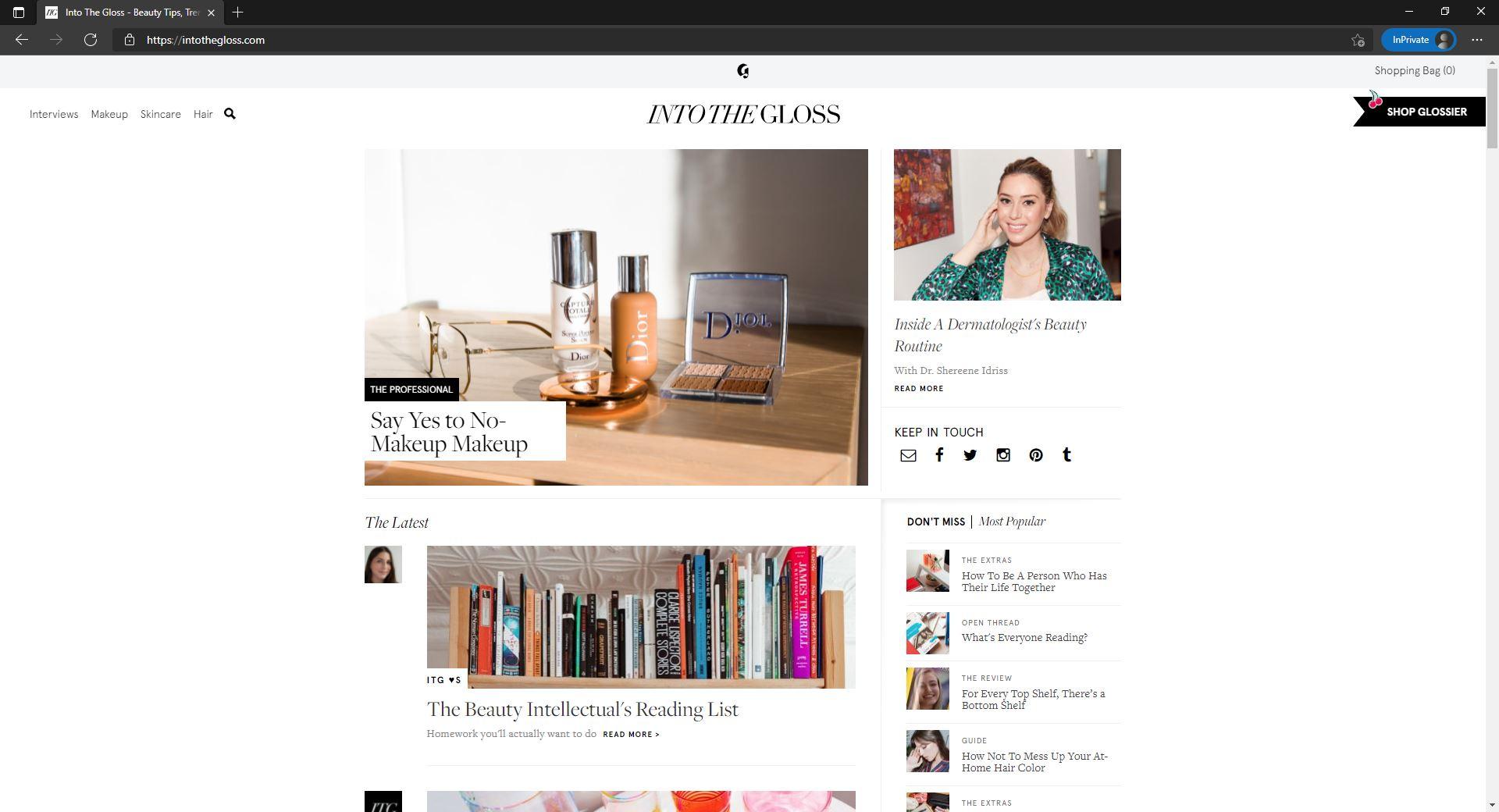 Glossier blog website