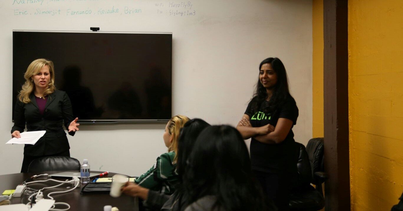 Ritu Narayan discusses with team in weekly conference