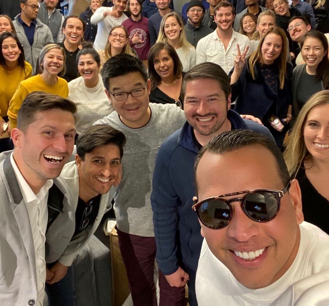 Alex Rodriguez collaborate with young entrepreneurs at a conference