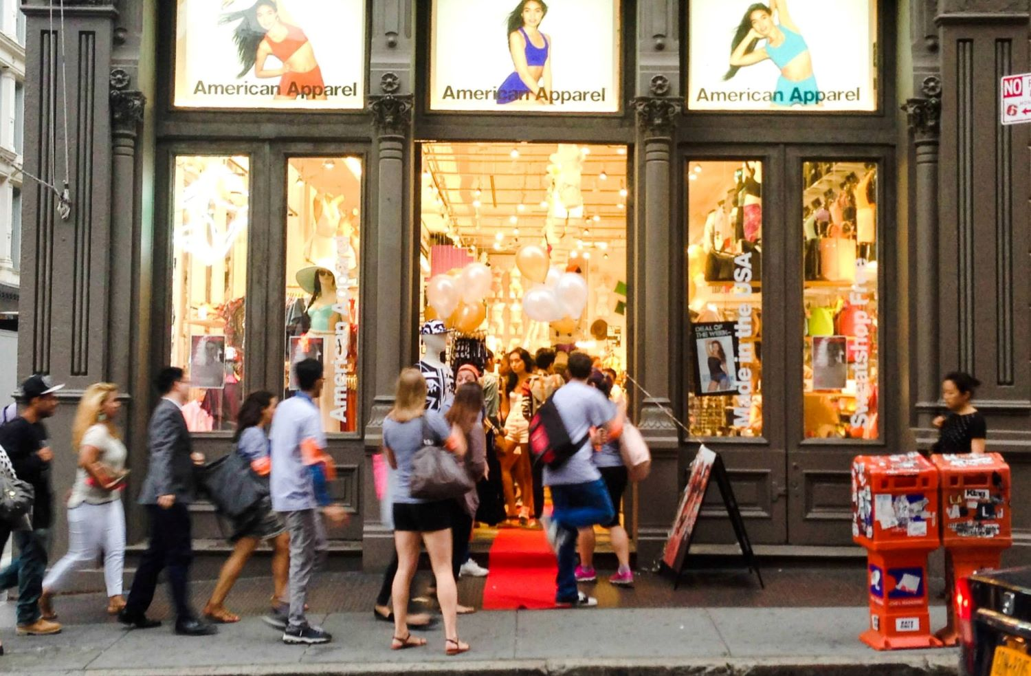 Shoppers visit American Apparel in NY