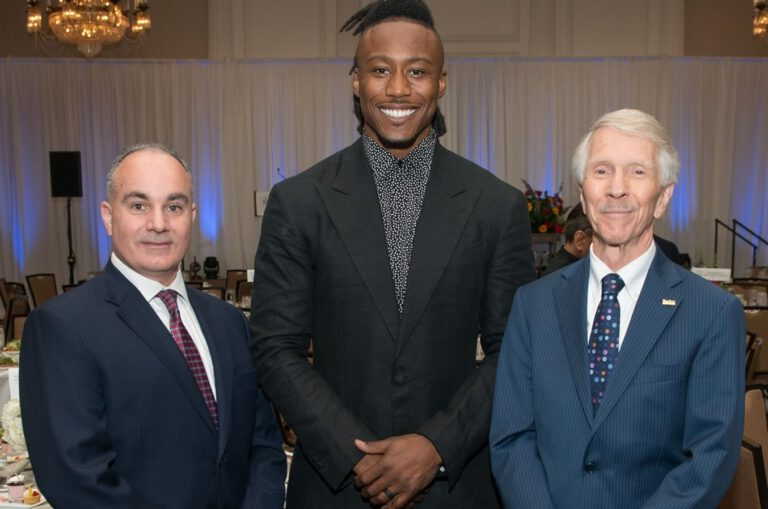 Brandon Marshall and the coach at the House of Athlete event