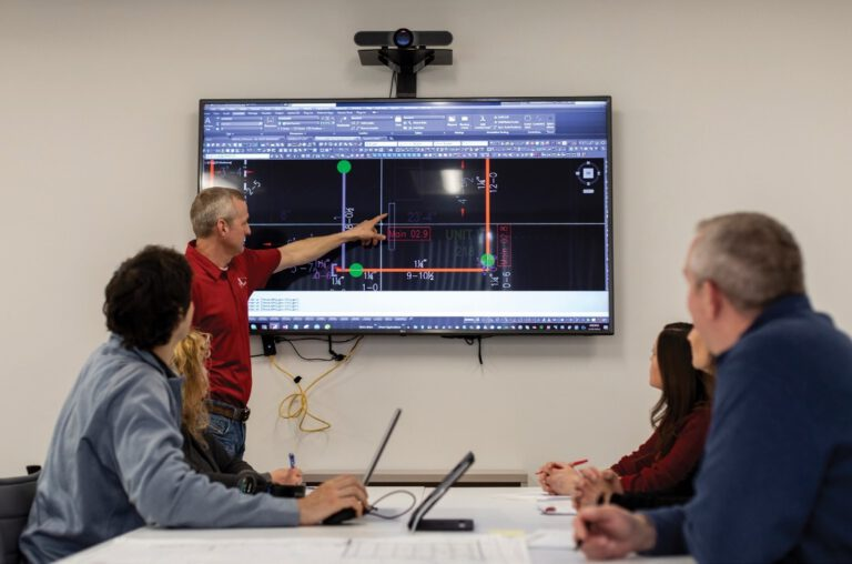 JF Ahern engineers collaborate with project manager on electrical plan
