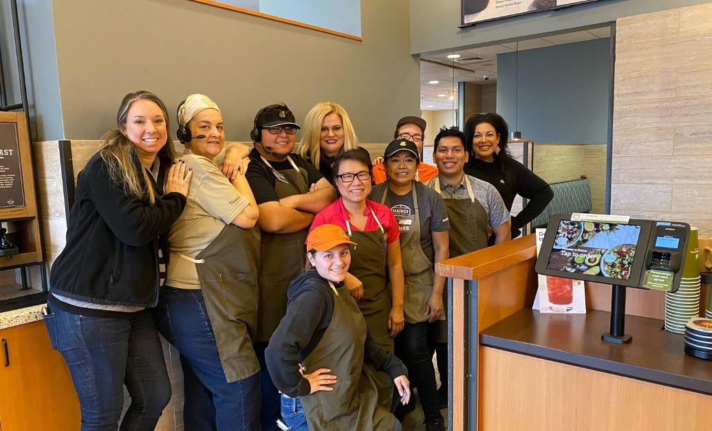 Panera Bread staff and manager at a local branch