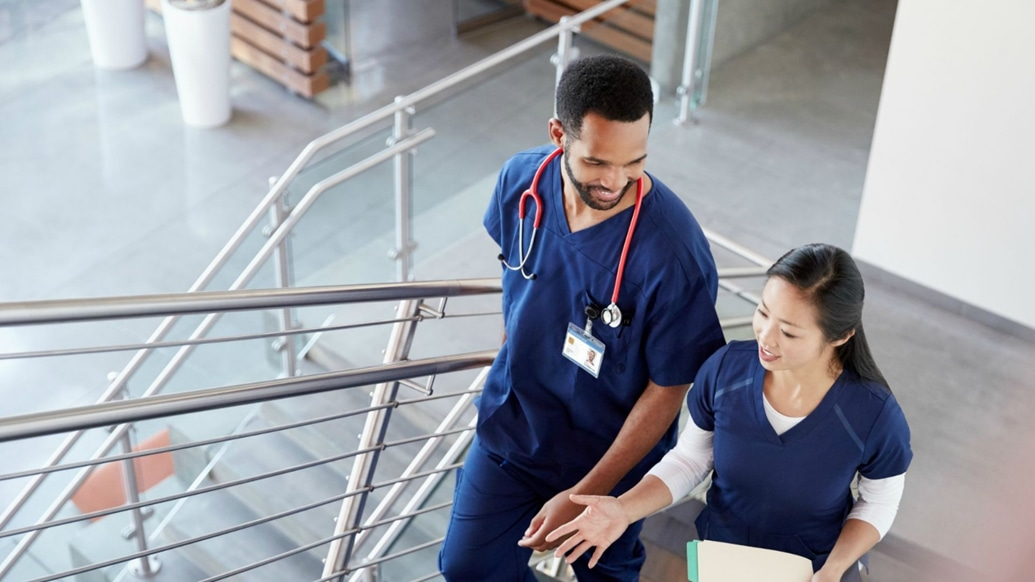Healthcare professionals collaborate