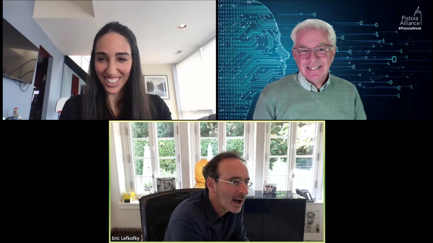 Tempus CEO in a video conference with other executives