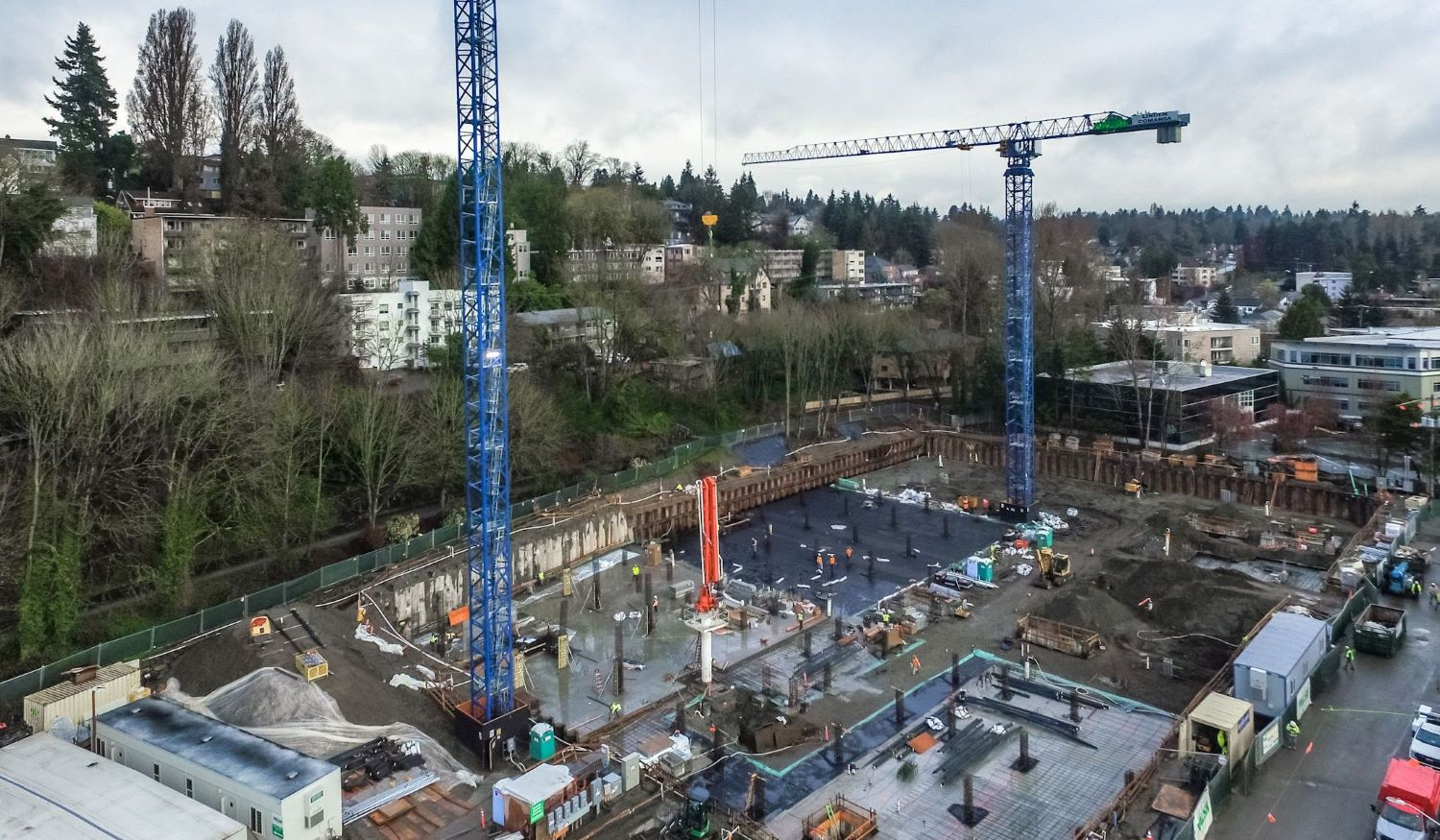 Walsh group team in foundation building progress in Seattle