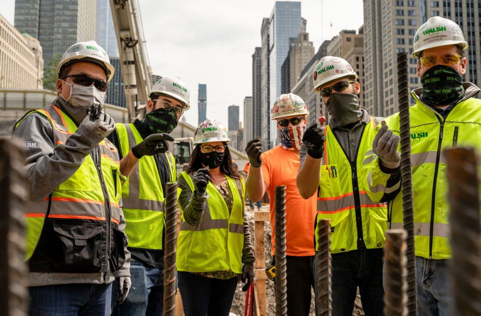 Walsh frontline workers in Chicago on road expansion