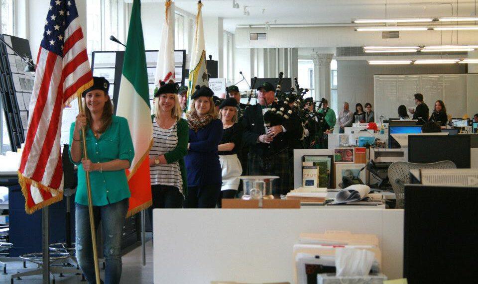 Gensler staff celebrate Saint Patrick day in the office