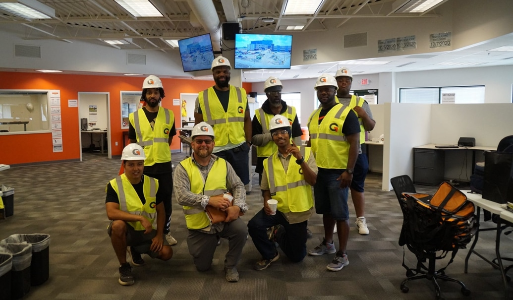 Granger Construction engineers at the office during break