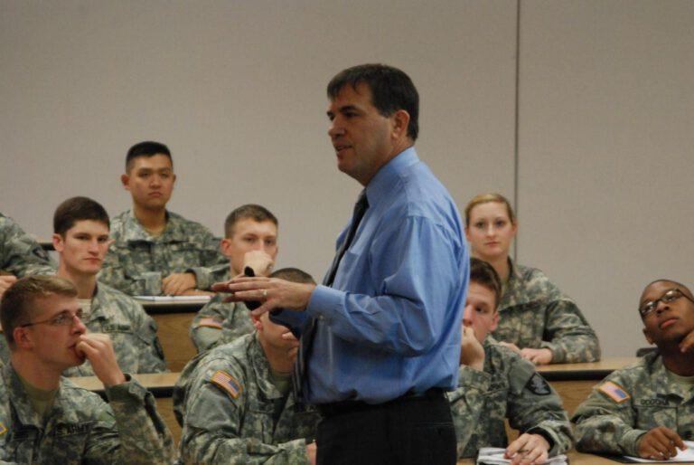 EMCOR CEO speak at a military base