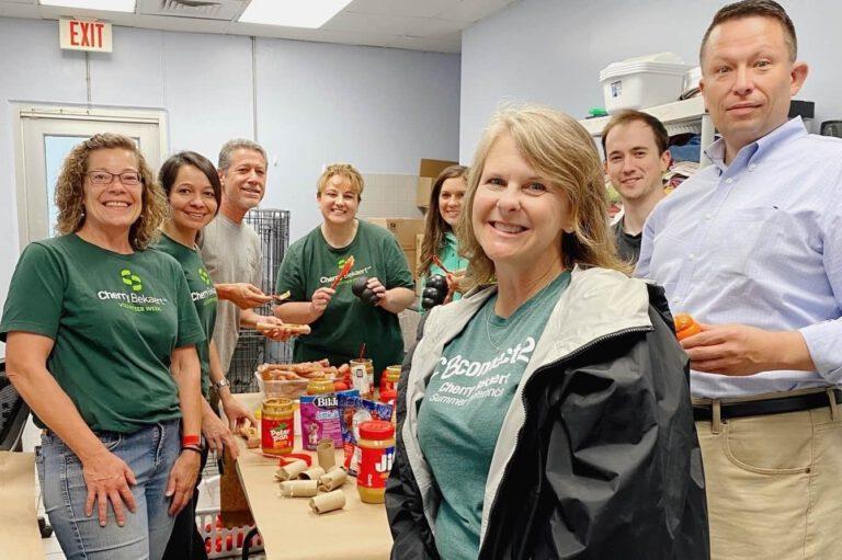 Cherry Bekaert CEO and her staff in lunch break