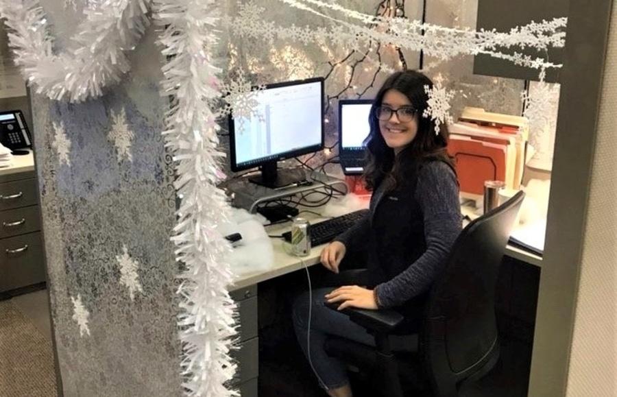 Cherry Bekaert staff work at her station