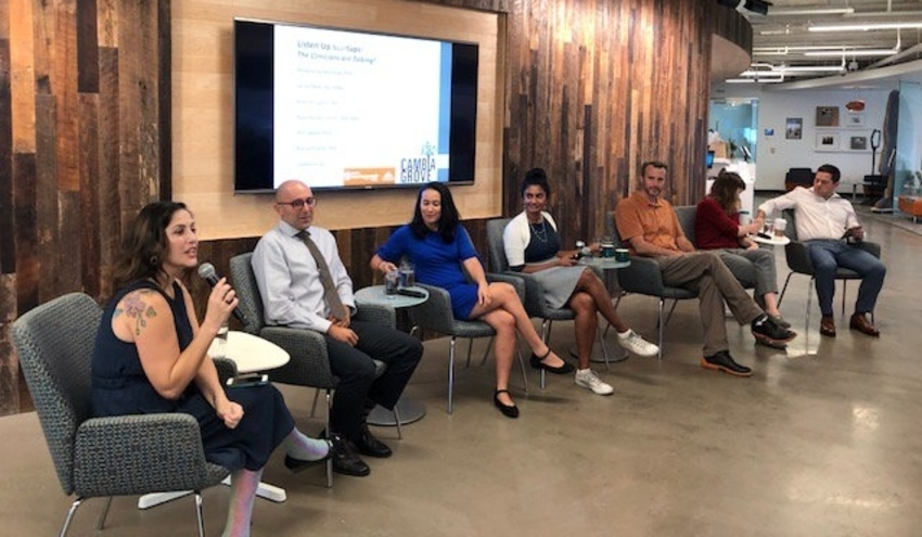 98point6 team share story at a meetup event