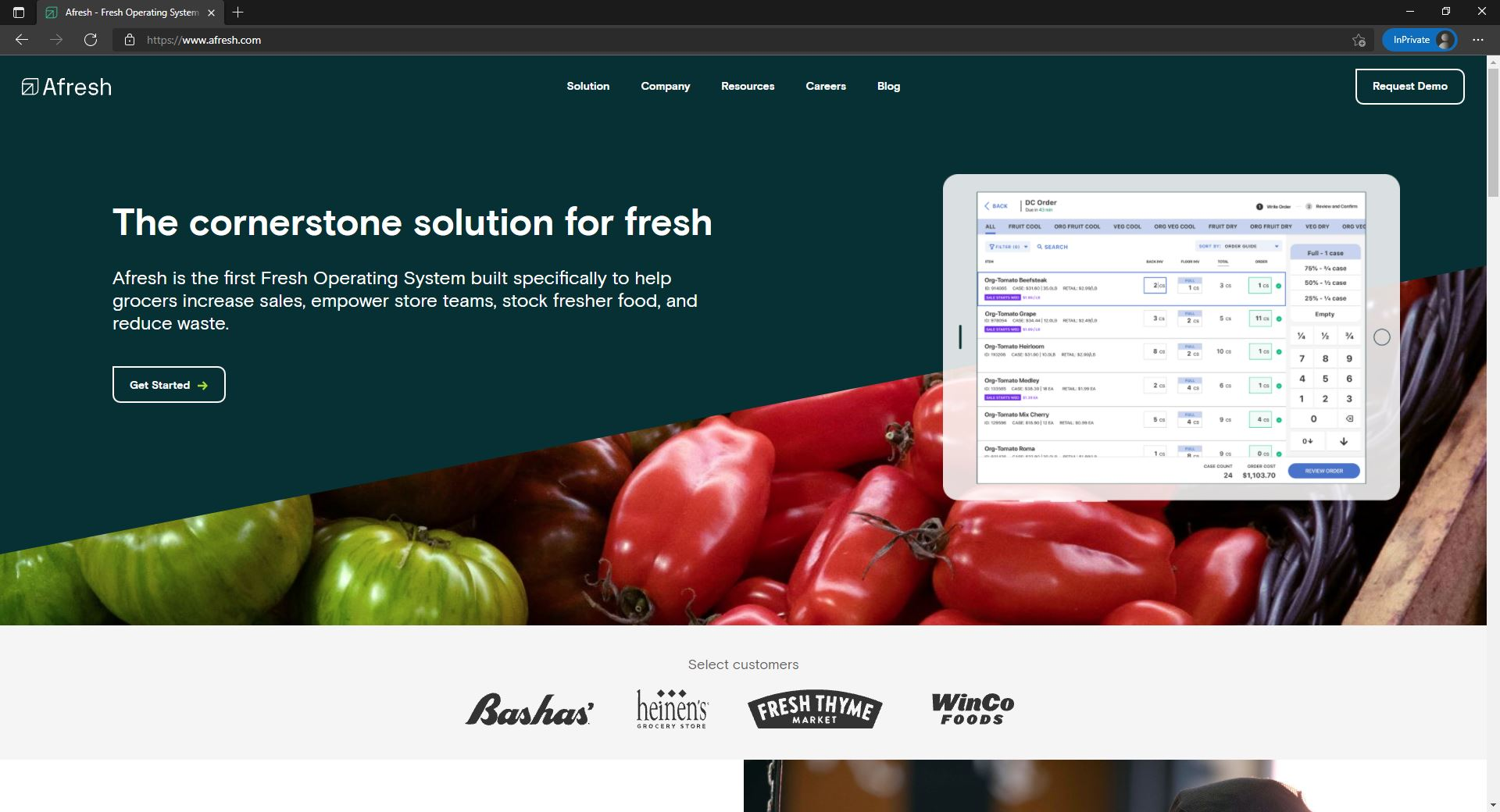 Afresh website homepage