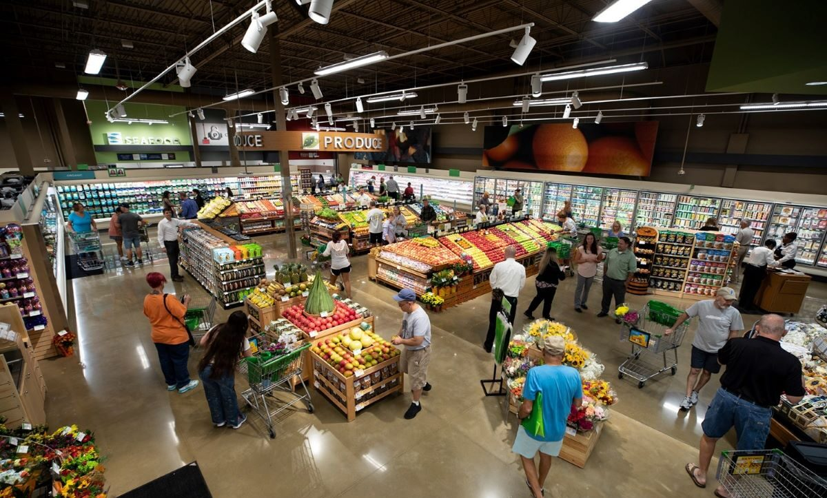 People shops at a local grocery store